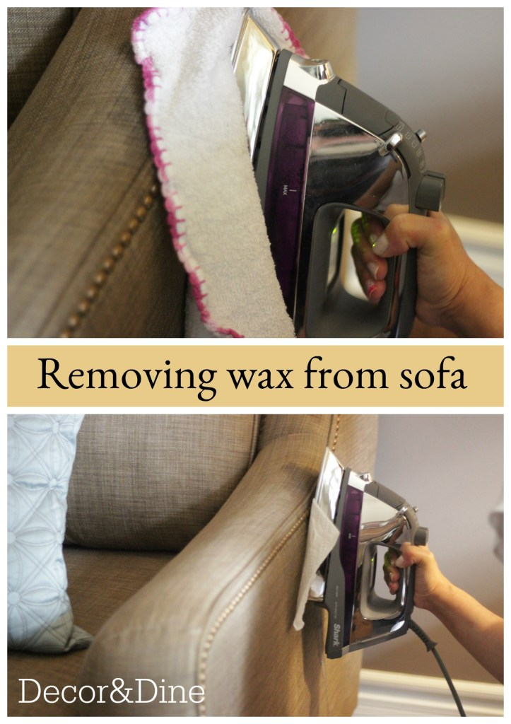 removing wax from sofa