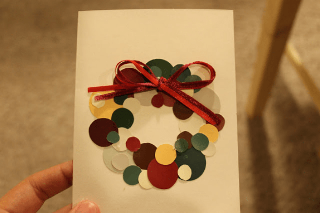 Christmas card made of paint chips