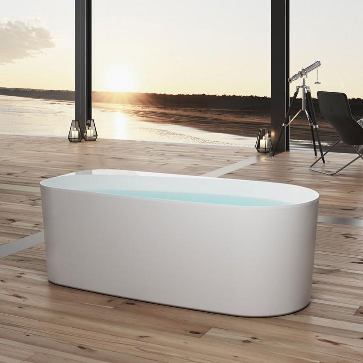 bathpro 59 po baignoire autoportante haut de gamme acrylique blanc mat dk mf 115573