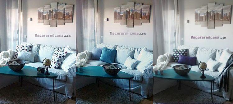Tres estilos de un mismo sofá, salón