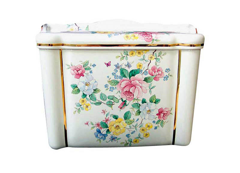 Chintz design painted toilet tank and lid with gold band highlights.