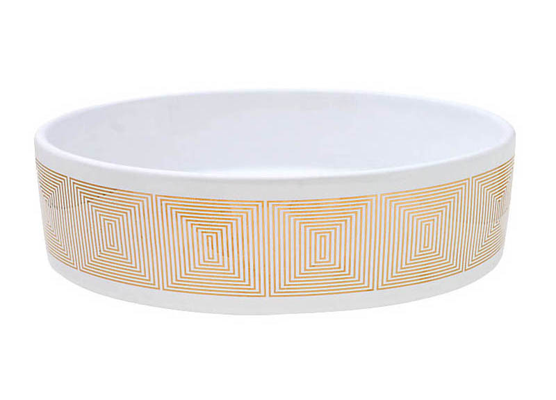 Gold Concentric Squares design on an oval vessel sink
