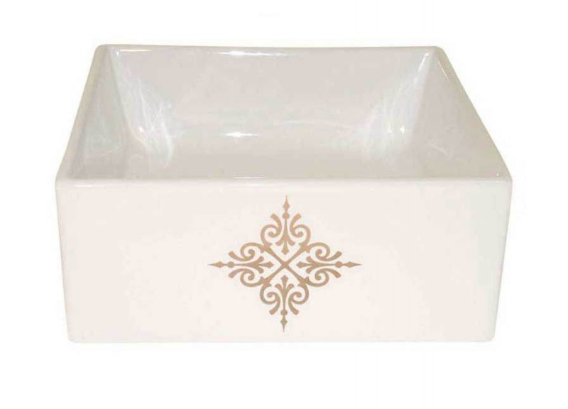 Metallic Gold Fancy Emblem on the front of a Square Vessel Sink