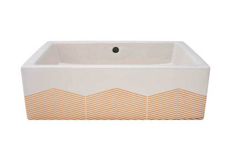 Gold Chevron design painted on a biscuit box vessel sink.