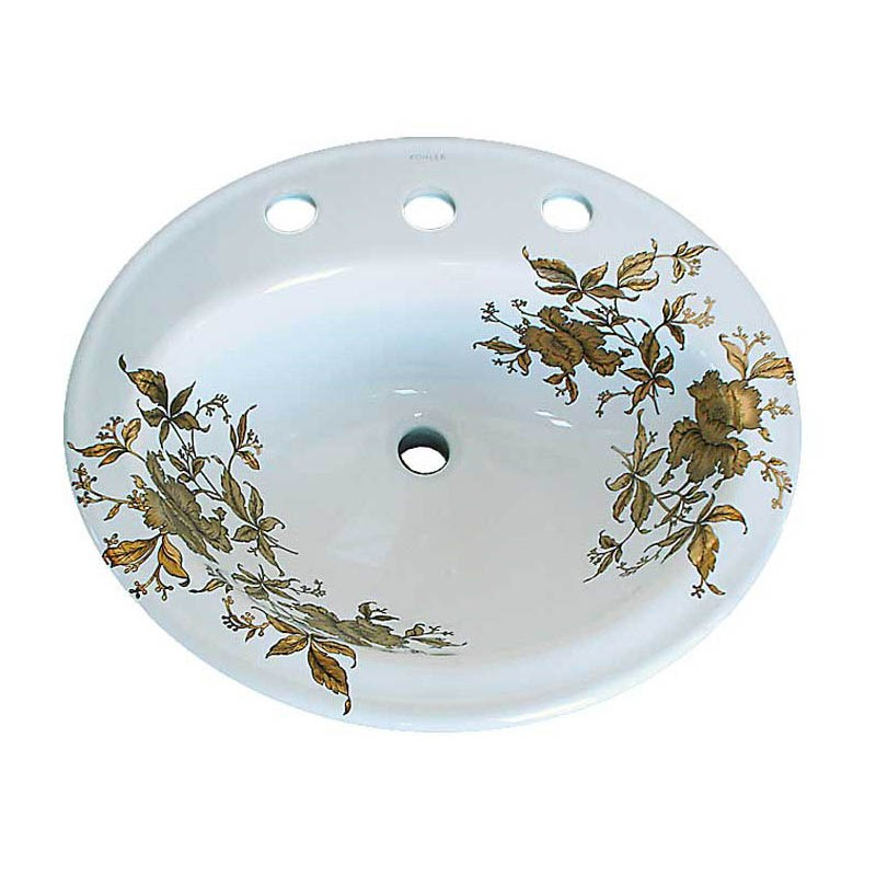 hand painted drop-in basin with gold floral design
