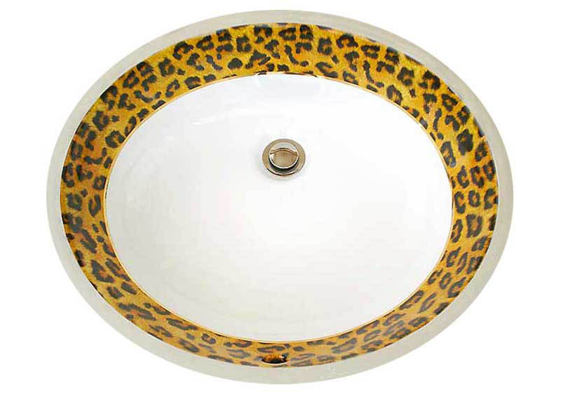 Leopard print and gold trim hand painted undermount sink.