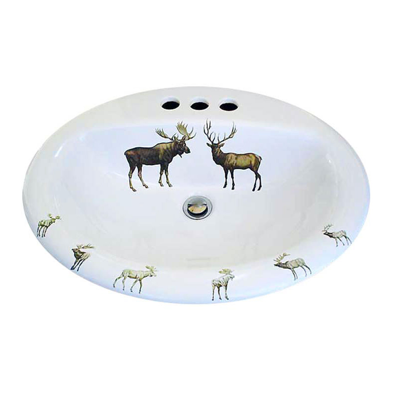 hand painted bathroom basin with moose and deer