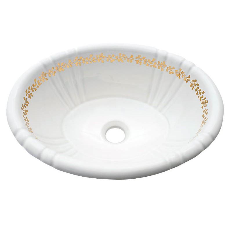 Fancy gold border hand painted fluted sink.