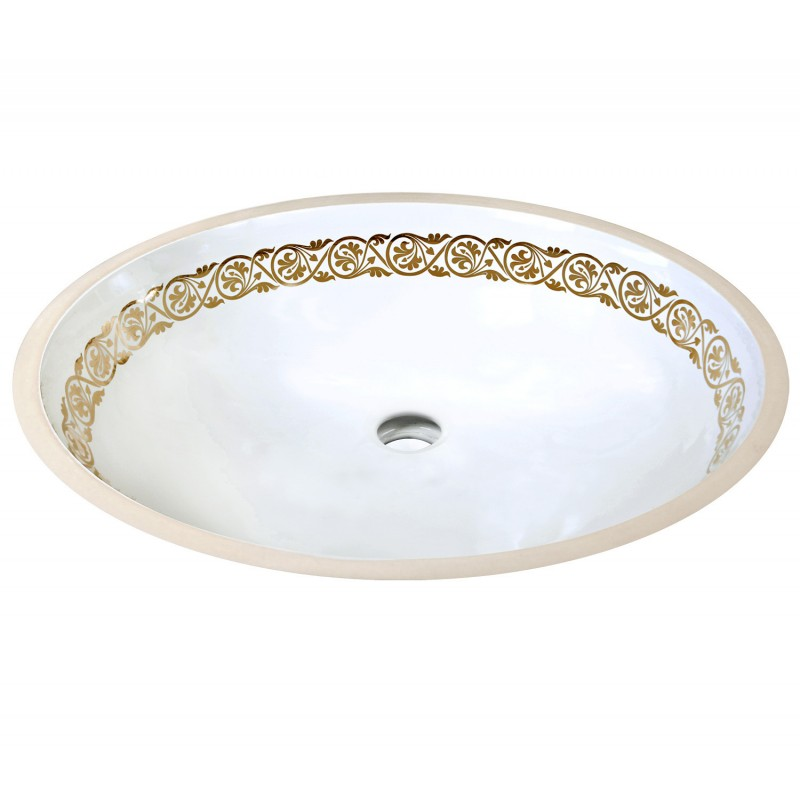 white undermount sink with fancy ornate gold border