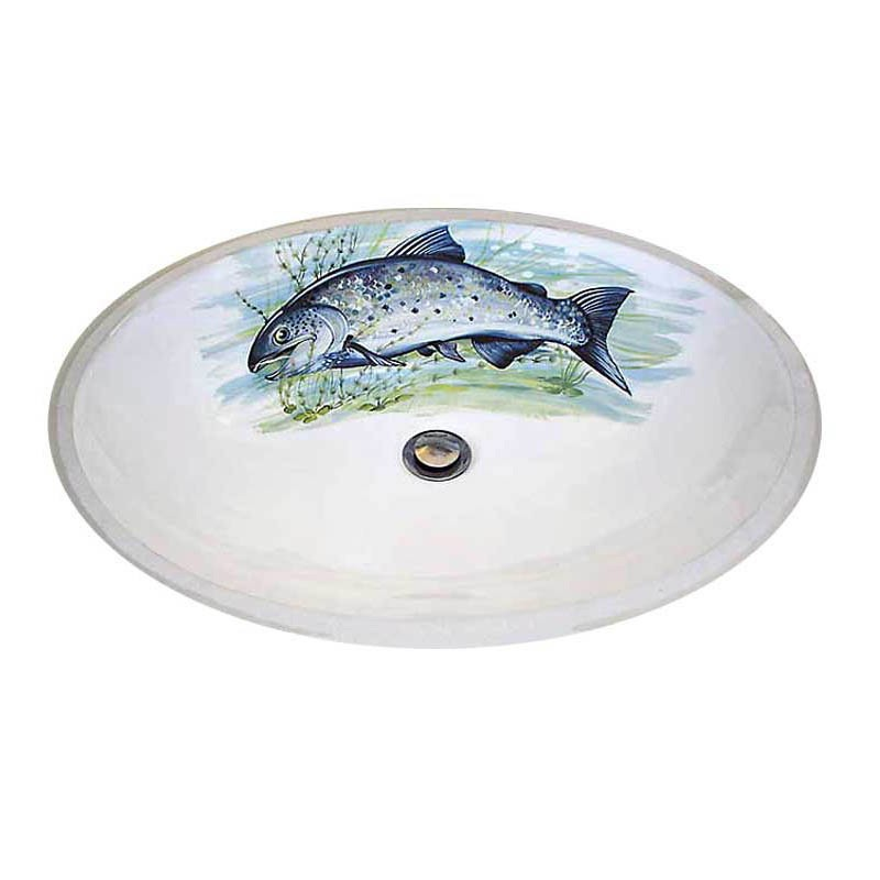 hand painted sink with a big salmon fish on it