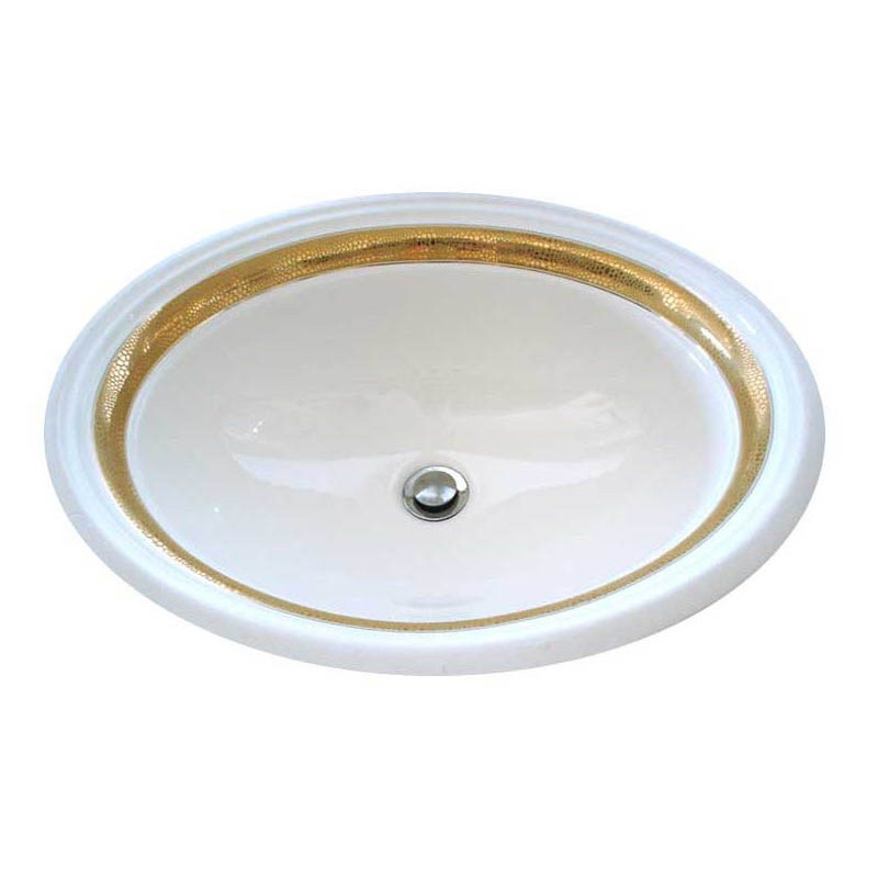 Matte and metallic gold border painted on a white vanity basin