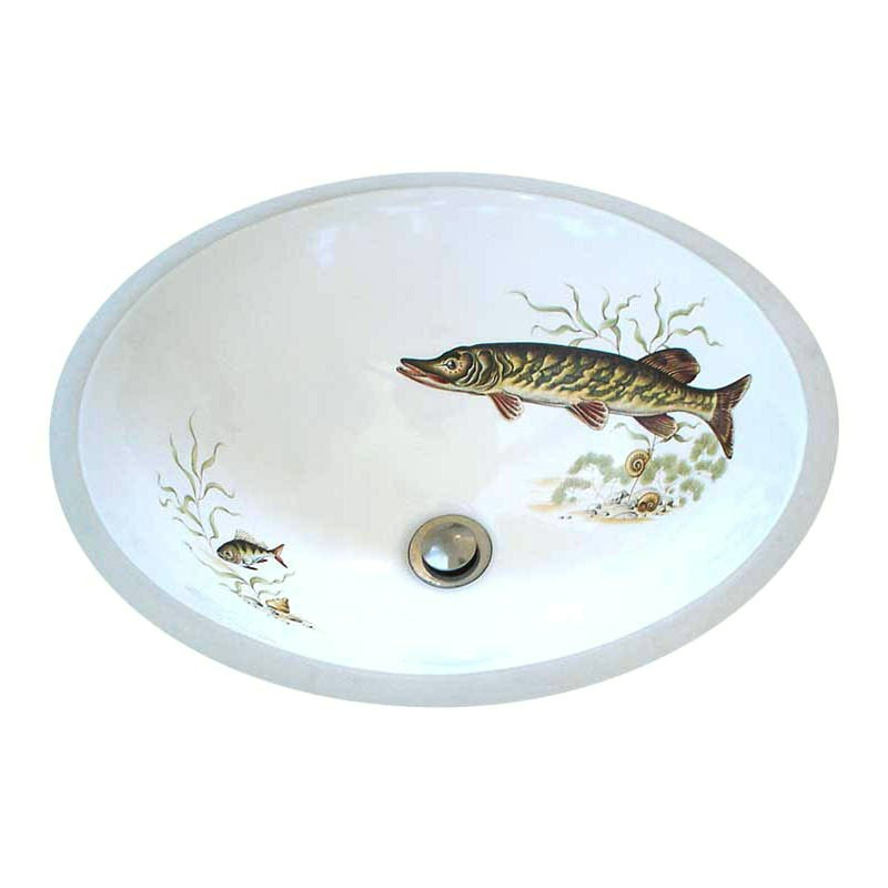 hand painted porcelain sink with fish