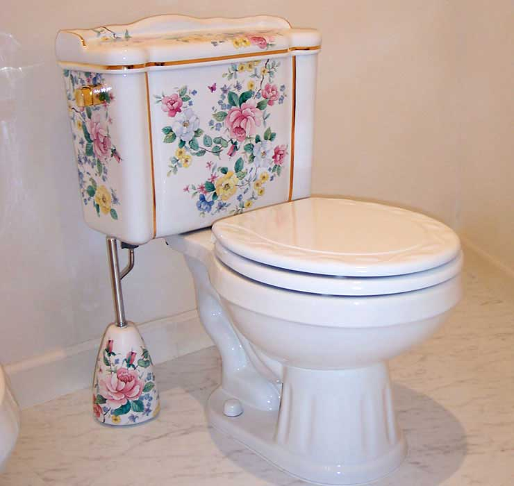 Hand Painted Chintz floral toilet