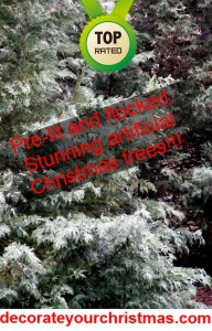 flocked artificial Christmas trees with lights