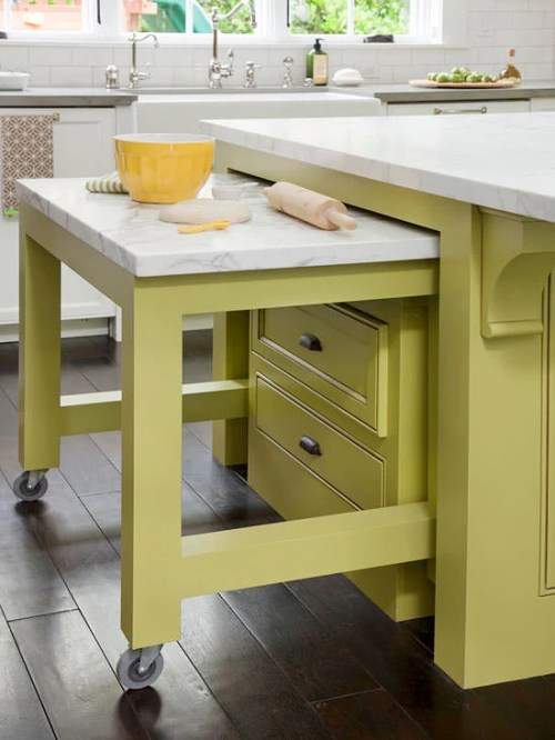 Kitchen Islands Ideas Extra Space Marble Countertop Yellow Bowl Lime Green Cabinets Rolling Pin