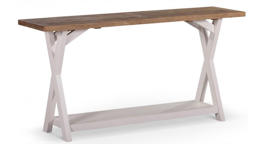 meuble console bois blanc cesure 150x40x74 5cm