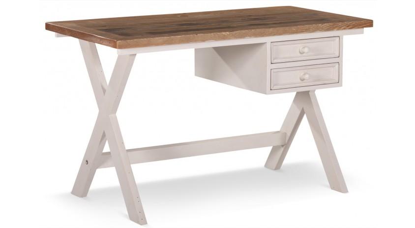 meuble bureau bois blanc cesure 2 tiroirs 130x66x75cm