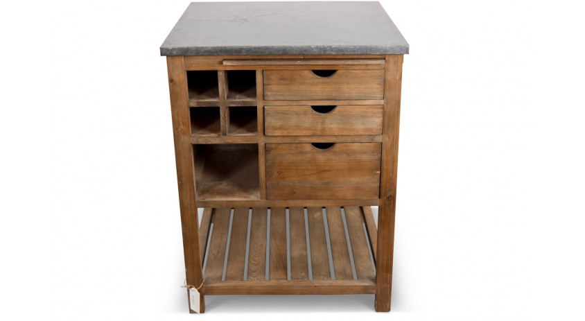 meuble bas rangement bois 3 tiroirs marron plateau zinc 70x70x91cm