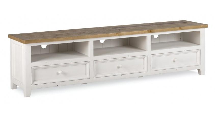 meuble tv bas rangement bois blanc cesure 210x45x55cm