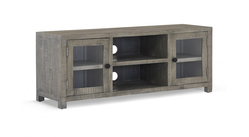 meuble tv bois marron 140x45x55cm