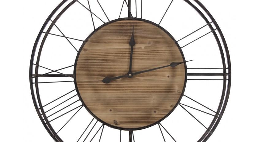 grande horloge ancienne bois metal marron 70x7x70cm