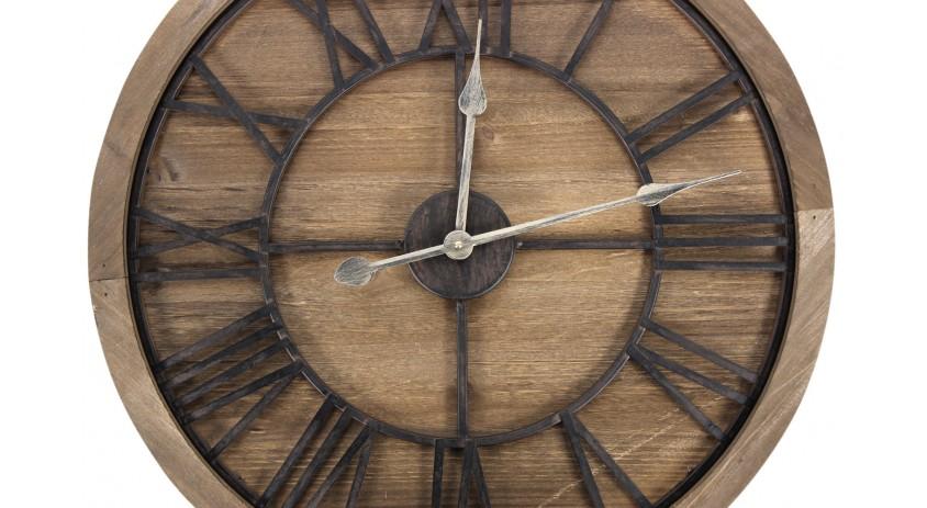 grande horloge ancienne bois metal marron 60x3x60cm