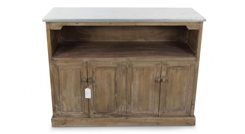 meuble bas rangement bois plateau zinc 119x47x90cm