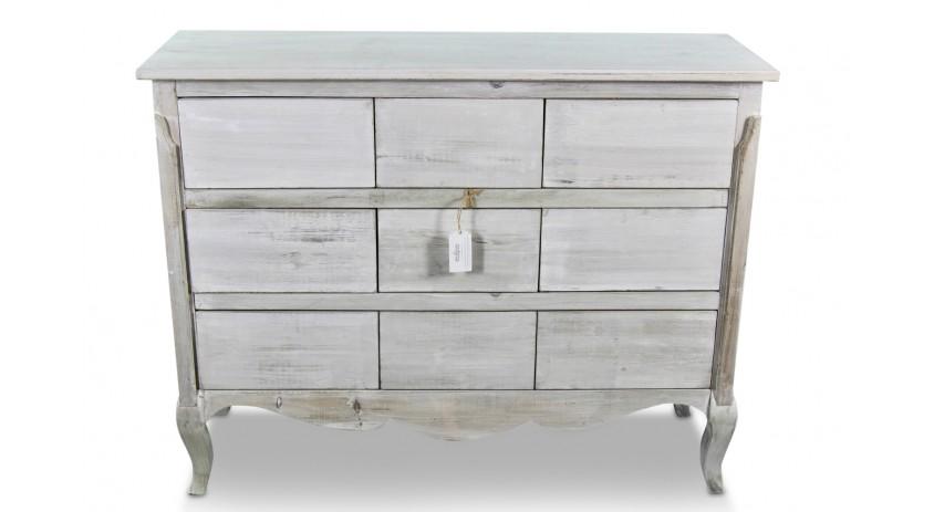 meuble bas rangement bois ceruse blanc 9 tiroirs nu 121x40x94cm