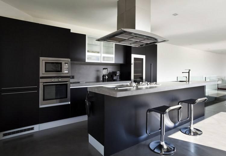 cuisine modele glace noir mat design et