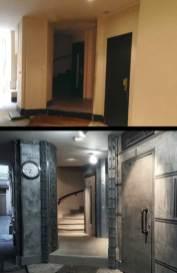 rénovation d'un hall d'immeuble ancien style industriel