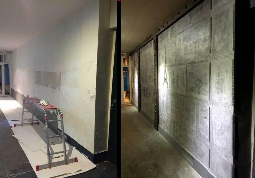 avant après mur transformé en mur de style industriel métallisé