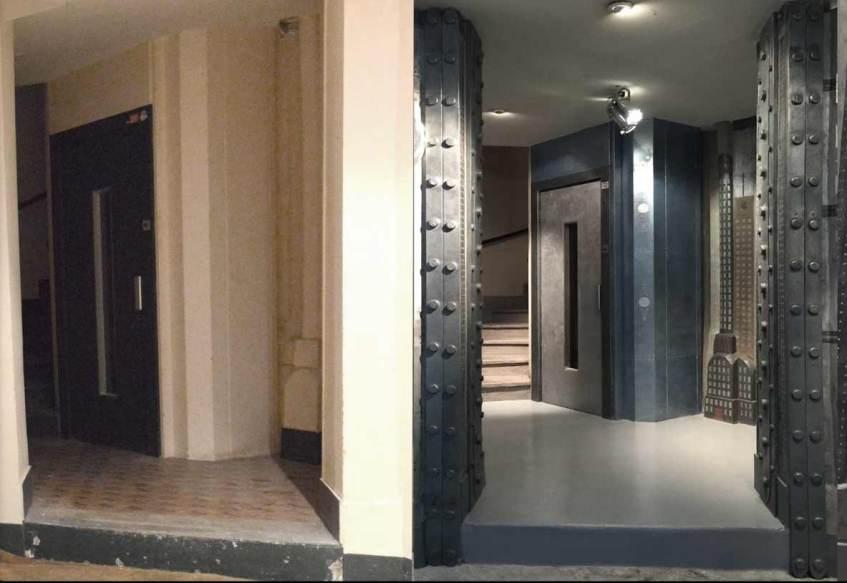 rénovation d'un hall d'immeuble ancien avant après et décoration de style industriel avec IPN style Eiffel
