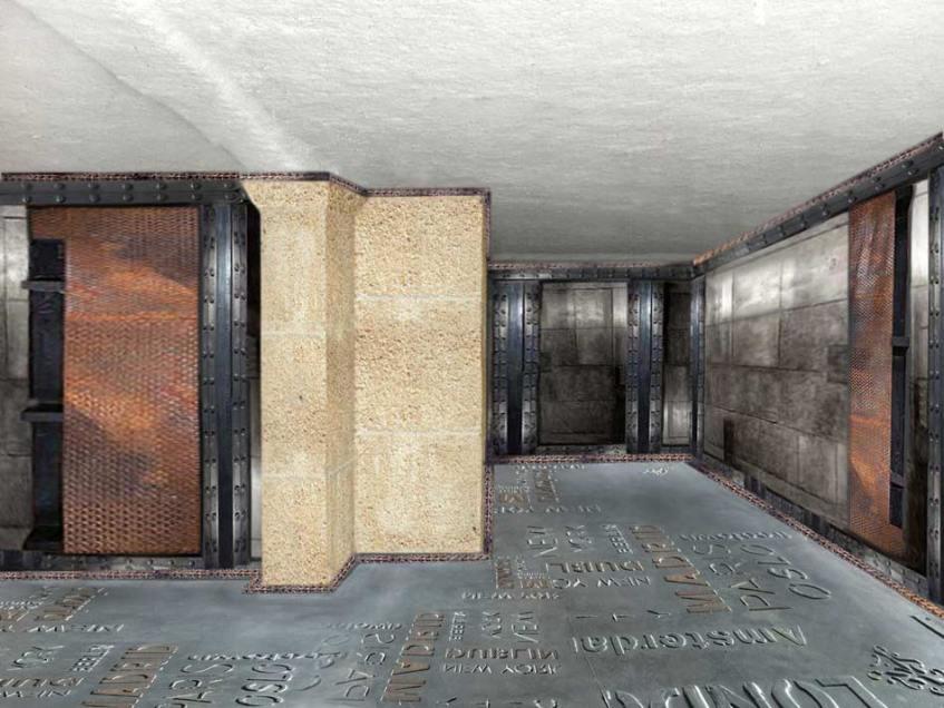 Mélange industriel, pierre apparente nettoyée, murs métalisé orné de plaques rouilées et de poutres en accessoire