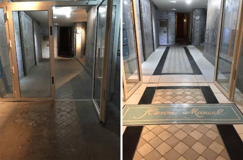 rénovation de sol de hall d'immeuble ancien décoration de style industriel et aussi contemporaine au sol