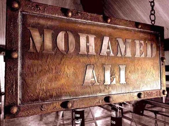 plaque métal style industriel sur suport bois métallique