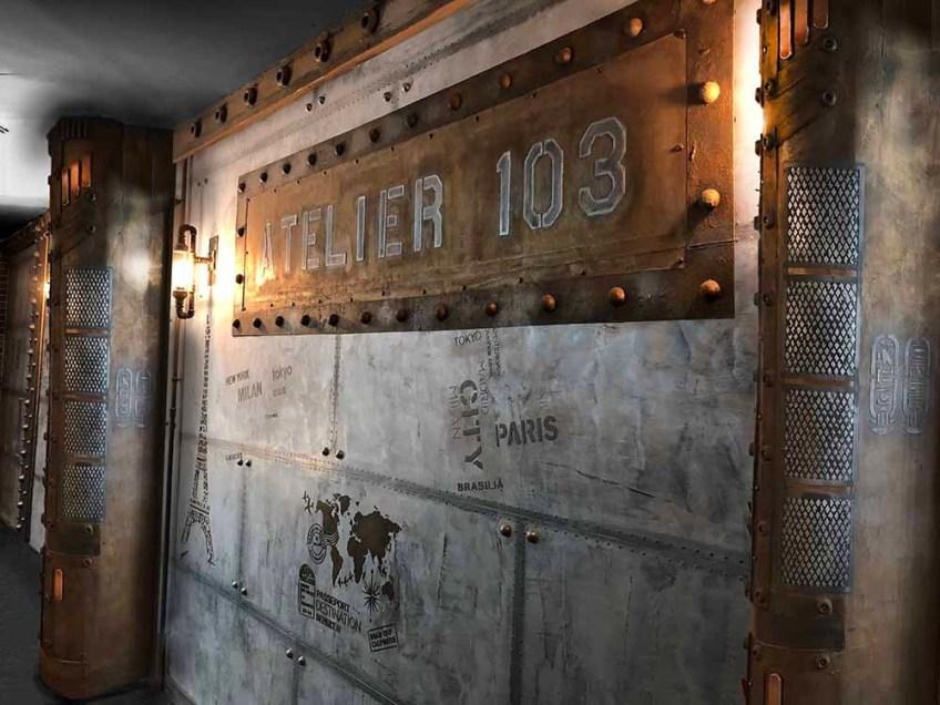 brasserie style industriel et Eiffel, murs métal rivetés boulonnés