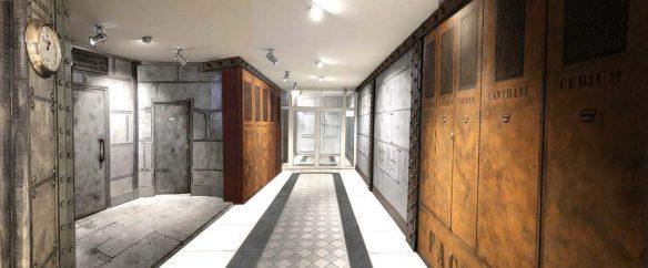 Décoration murs métalliques hall immeuble style industriel et Eiffel
