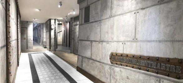 Réfection hall immeuble murs métal et enseigne décorative
