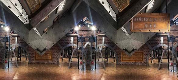 revêtement sur BA13 - poutres métallisées style EiffelA large room - Industrial style