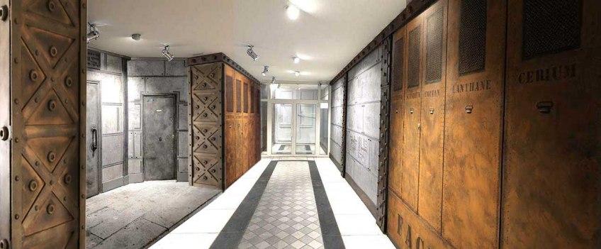 Décoration style industriel sur BA13 hall immeuble style Eiffel