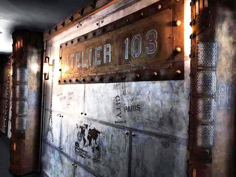 décoration murs boulangerie murs métal style industriel et IPN style Eiffel