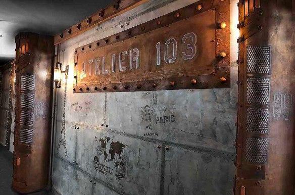 décorateur murs de brasserie décorateur d'intérieur BA13 et murs métal avec IPN style Eiffel
