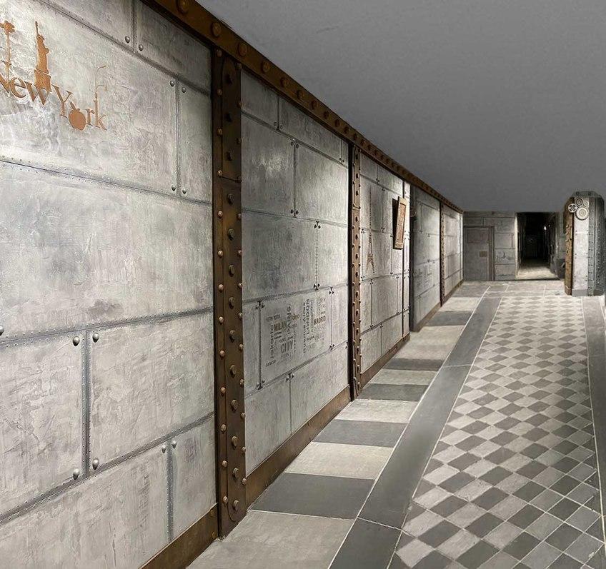 Décorateur de murs de hall d'immeuble murs métal style industriel sur BA13 peinture murale