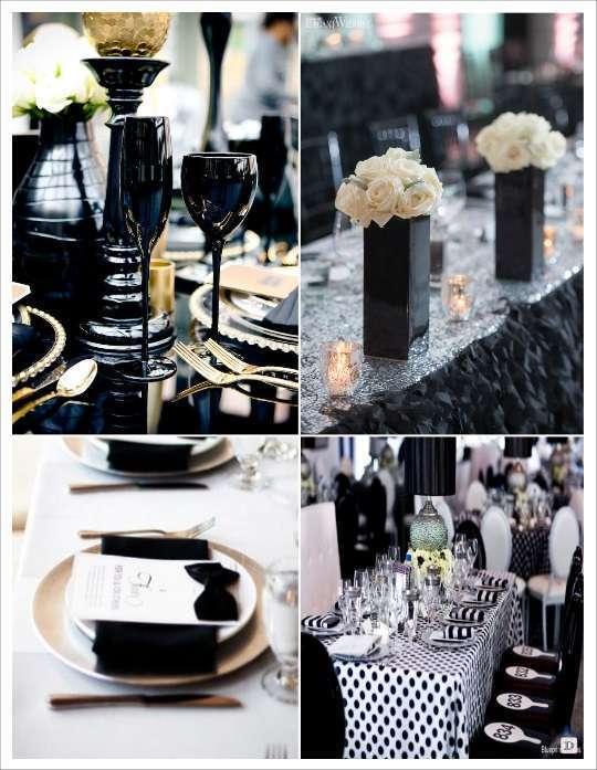 deco table noir et blanc vase chemin de table