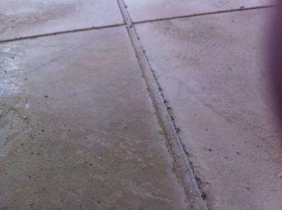 Lines have been scored and concrete is ready to stain