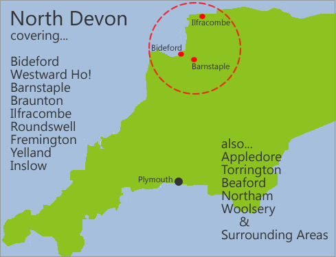 North Devon, covering Bideford, Westward Ho!, Barnstaple, Braunton, Ilfracombe, Roundswell, Fremington, Yelland and Instow