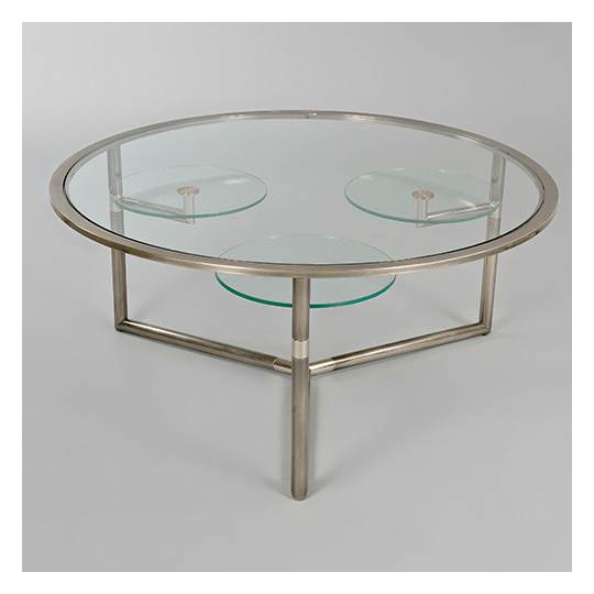 tables desks coffee tables chrome and glass coffee table with three rotating lower tables belgium prob c1965 1970