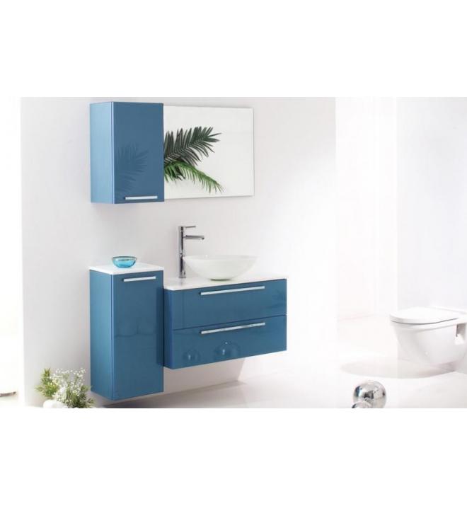 Topex Glass 36 Flat 5014 Wall Hung Luxury Glass Bathroom Vanity In Blue