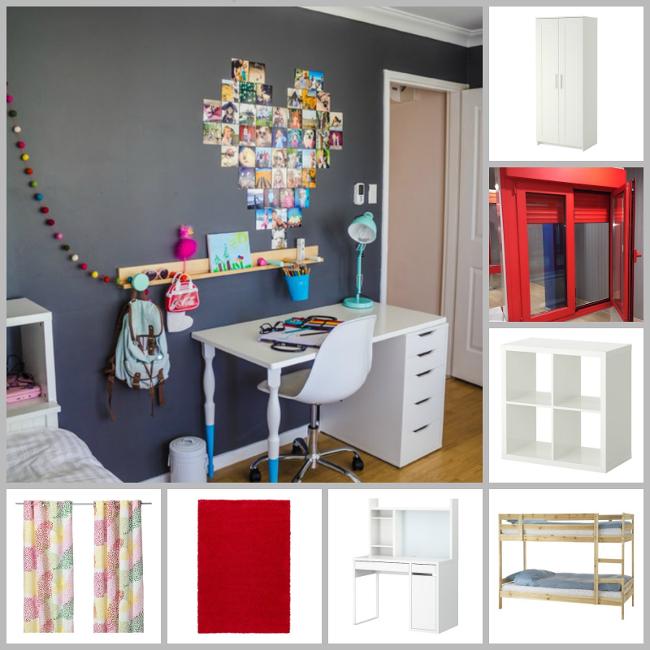 moodboard: habitación infantil en gris, rojo, blanco y madera