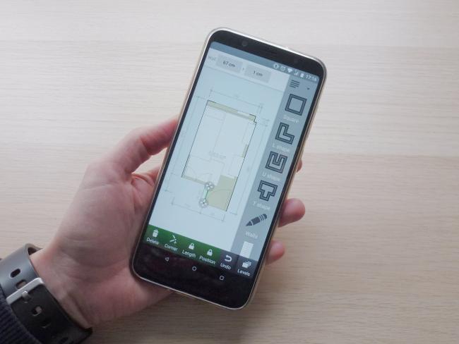 Plano del dormitorio en la app para Android Floor Plan Creator